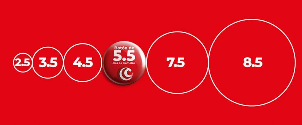 botones publicitarios tamaños